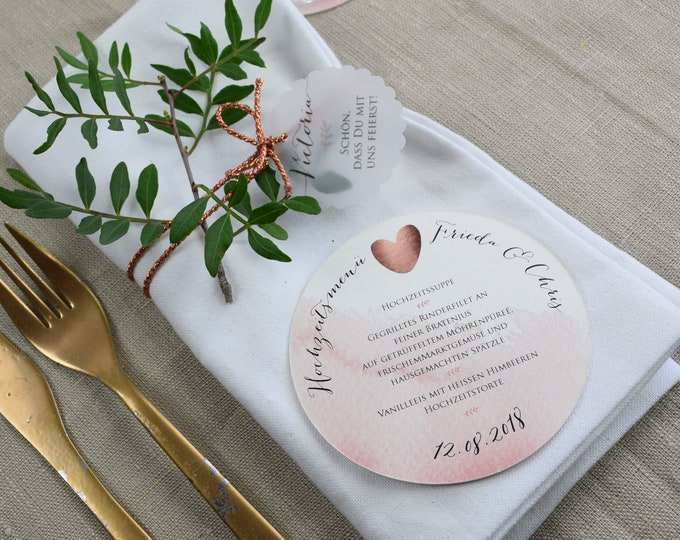 Menu menu round-wedding menu, individually printed menu, menu for the wedding