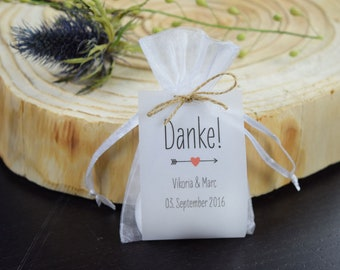 "Guest gift wedding ""Thank you"" vintage, personalized gift for wedding guests, individual print, place card, table card"