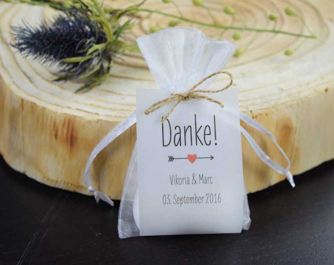 """Guest gift wedding """"Thank you"""" vintage, personalized gift for wedding guests, individual print, place card, table card"""