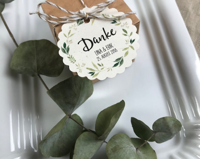 "Trailer table card ""Nature Love"" vintage, personalized place card, pendant for guest gifts, wedding"