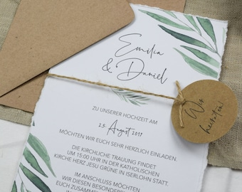 "Wedding invitation ""Lovely Green"" B6 incl. envelope, 25 pieces, wedding card, watercolor invitation card, birthday invitation card"