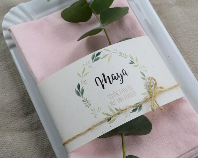 "Napkins Banderole Wedding ""Nature Love"" Table Card, Place Card Wedding, Name Card"