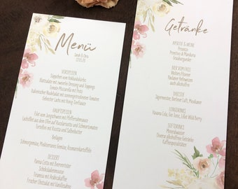 Menu menu wedding motif -watercolor love-