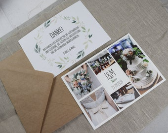 "Thank you card ""Nature Love"" for wedding, folding card for wedding, custom printed card incl envelope, thanksgiving wedding"