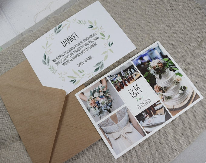 "Thank you card ""Nature Love"" to the wedding, folding card to the wedding, individually printed card including envelope, thanksgiving wedding"