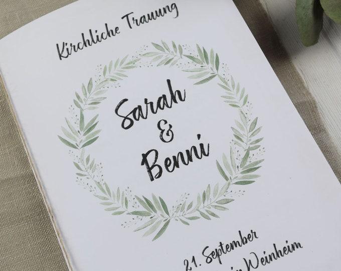 """Church booklet wedding """"flouring-love,"""" dream book, church wedding, church leaf wedding"""