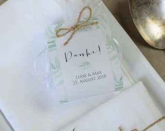 Guest gift wedding vintage-leaf personalized gift for wedding guests, individual print, table card