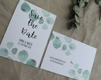 "Save the Date Card Wedding ""Eucalyptus"", Wedding Announcement, Wedding Card, Save the Date Card vintage"