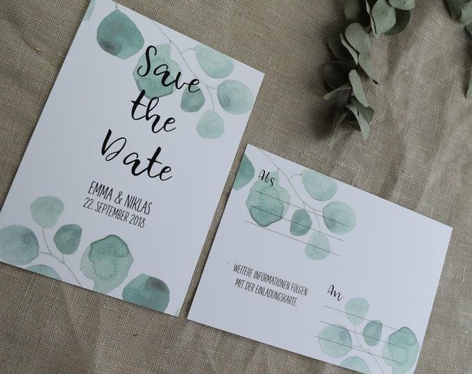 "Save the Date Card Wedding ""Eucalyptus,"" Wedding Announcement, Wedding Card, Save the Date Card vintage"
