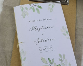 "Church booklet wedding ""watercolal-love"" dream book, church leaf wedding, church wedding"