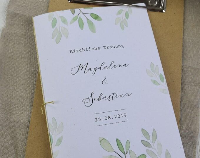 "Church booklet wedding ""watercolal-love"" dream book, church leaf wedding, church wedding"