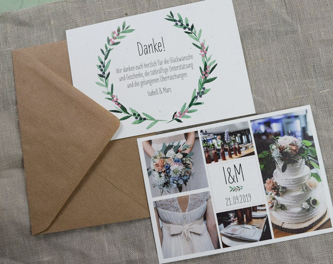 ' Juniper love ' thank you card to the wedding