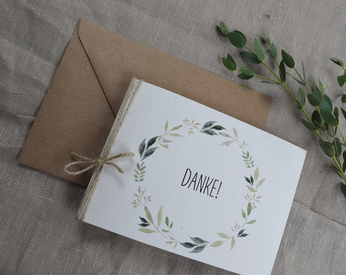 "Thon card ""Nature Love"" folding card to the wedding, individually printed card including envelope, thanksgiving wedding"