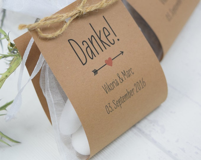 """Guest gift wedding """"Thank you"""" vintage, individual gift for wedding guests, personalized place card, table card"""