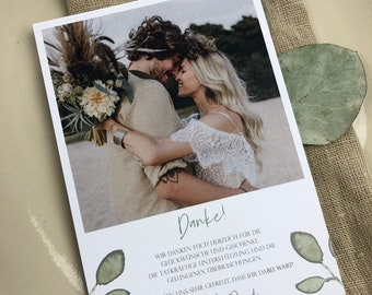 "Thank You Card Wedding ""Greenery Love"", Thanksgiving to Wedding, Custom Print, Polaroid Look"