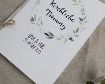"Church booklet Wedding ""Nature Love"", Wedding Booklet, Church Wedding Ceremony, Church Leaf Wedding"
