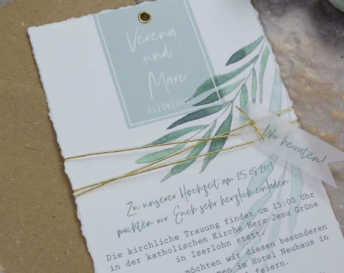 "Wedding Invitation ""Green & Gold"" B6 incl. Envelope, Wedding Card, Invitation Card in Watercolor Design, Garden Party, Birthday Invitation Card"
