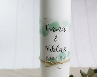 "Wedding candle, mourner motif ""eucalyptus"" vintage wedding,"