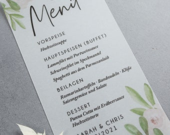 Menu menu motif -Pure transparent paper perfect for wedding, baptism and birthday