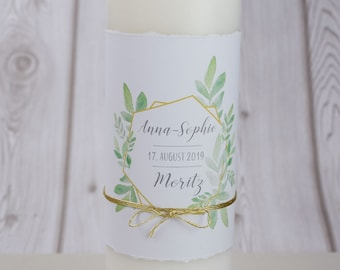 "Wedding candle motif ""Boho Gold"", personalized wedding candle, custom print"