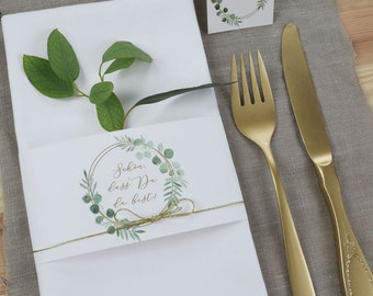 "Papeterie Set Small, ""Eucalyptus Gold-2"" Wedding/Birthday Baptism, Table Card and Serviette Banderols in Set"
