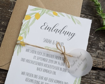 "Wedding invitation ""Citron"" B6 incl envelope, wedding card, invitation card in watercolor design, garden party, birthday invitation card"
