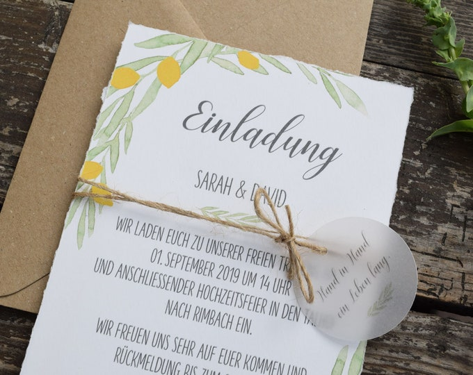 "Wedding invitation ""Citron"" B6 incl envelope, wedding card, invitation card in watercolor design, garden party, birthday invitation card"