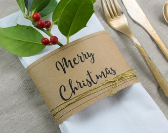 "Napkin Banner ""Merry Christmas"" table card"