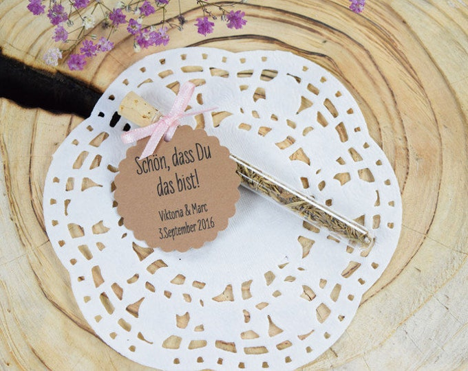 """Guest gift wedding """"Romance"""" flower meadow, vintage, individual gift for guests, personalized pendant, name card"""