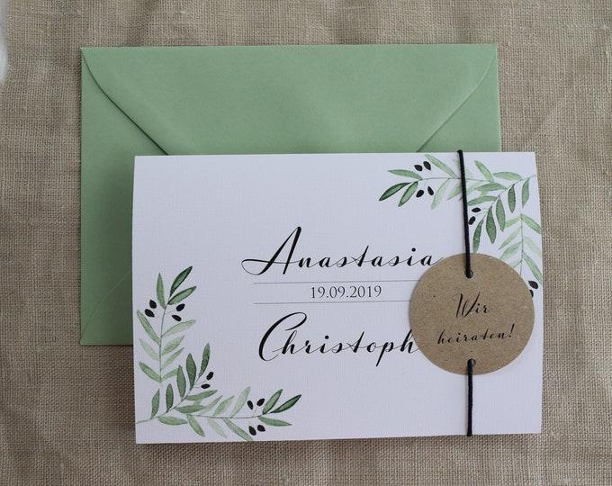 "Wedding invitation ""Mediterranean Love,"" individual invitation card, wedding card, personalized print"