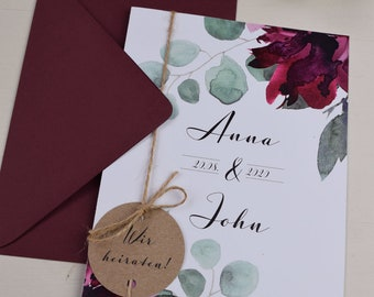 "Wedding Invitation ""Sage&Wine Red"" Wedding Invitation Card, Custom Wedding Card, Summer Wedding"