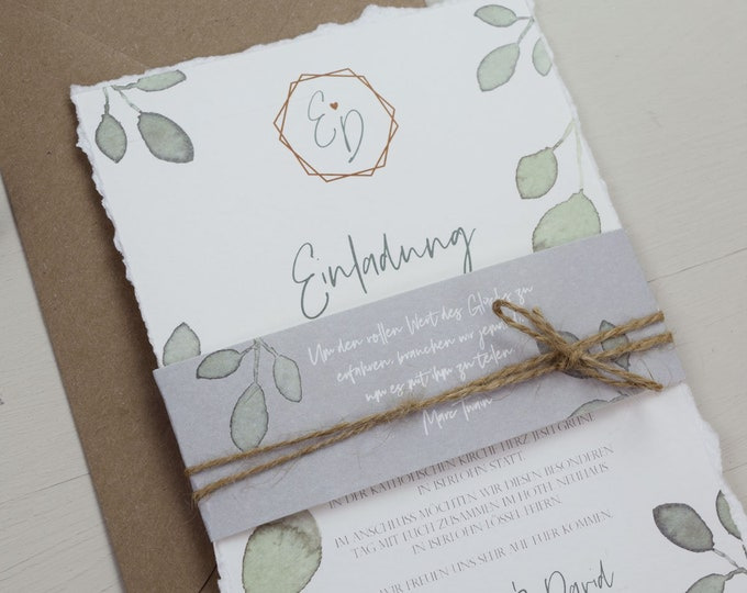 "Wedding Invitation ""Greenery Love"" B6 incl. Envelope, Wedding Card, Invitation Card in Watercolor Design, Garden Party, Birthday Invitation Card"