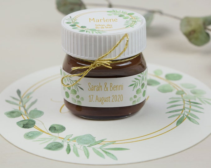 """Featured listing image: Papeterie Set Motif """"Ring Love"""" for Nutella Mini Glass, Personalized, Wedding Guest Gift"""