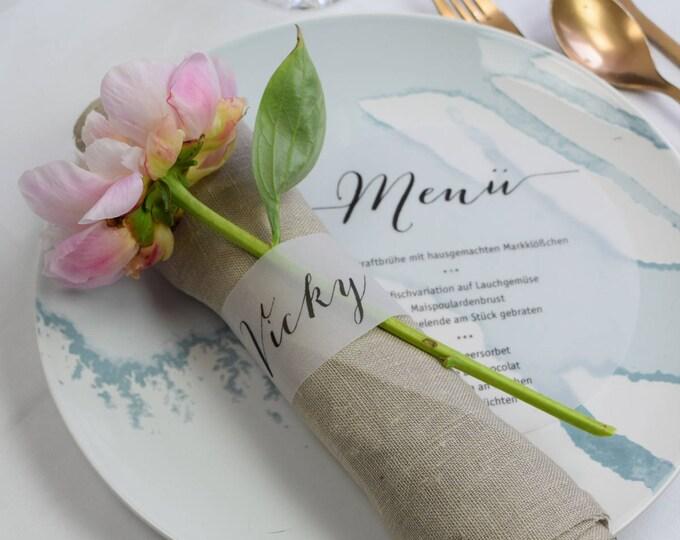 "Napkin ring ""Script"" wedding name card"
