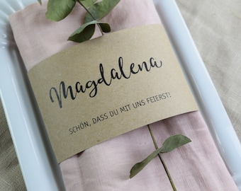"Napkin Band ""The name"" table card"