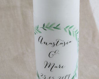 "Wedding candle motif ""olive-wedding"" vintage, personalized wedding candle, individual print"
