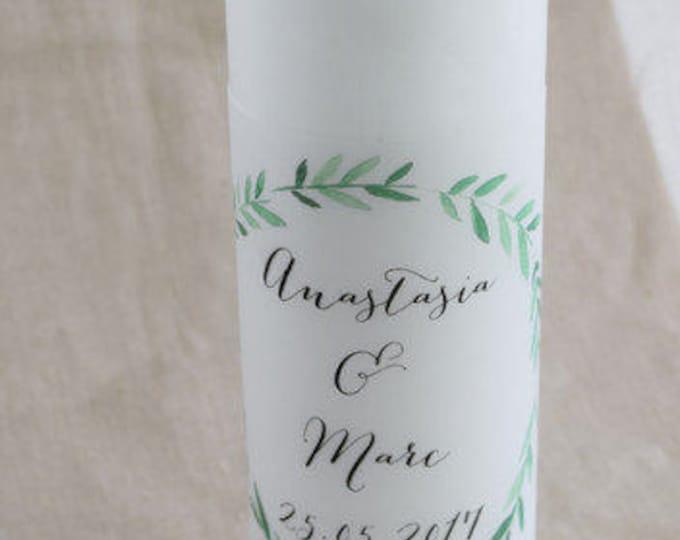 "Wedding candle motif ""olive-wedding"" vintage, personalized wedding candle, individual print"