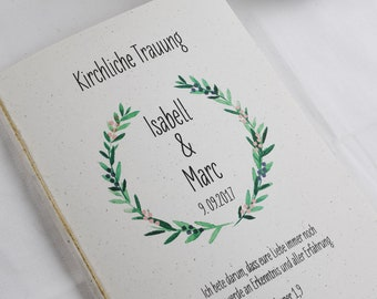 "Church booklet Wedding ""Wacholder-love"" wedding booklet, church leaf wedding, church wedding ceremony"