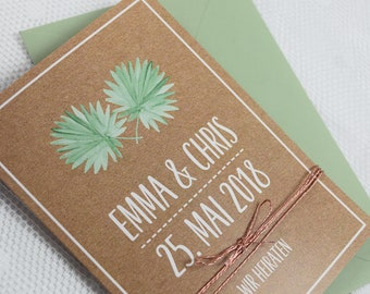 "Wedding invitation ""Palm Leaves"" with answer card, wedding invitation card, vintage wedding, kawaii wedding"