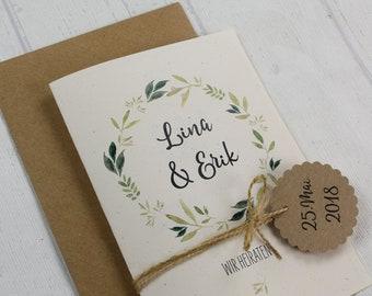 Wedding invitation incl. envelope vintage style, wedding invitation card, custom wedding card