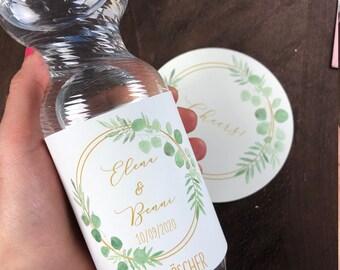 Bottles of label ring love vintage wedding, wedding hostess gift, hang over kit, hangover breakfast