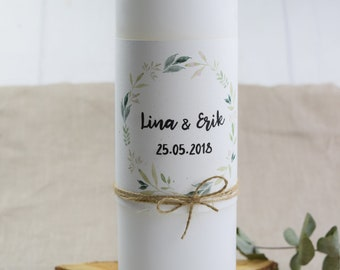 "Wedding candle motif ""Nature Love,"" personalized wedding candle, individual print"
