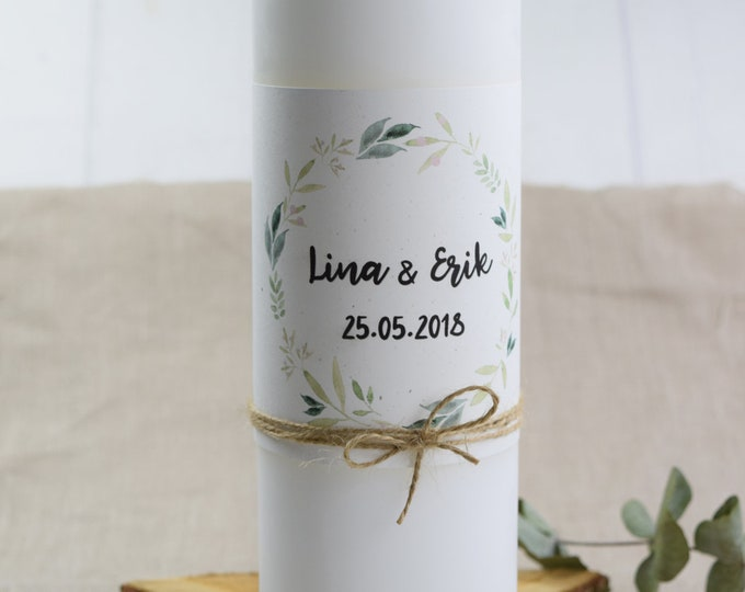 """Wedding candle motif """"Nature Love,"""" personalized wedding candle, individual print"""