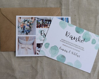 "Thank you card wedding ""Eucalyptus"", thanksgiving for the wedding, custom print"