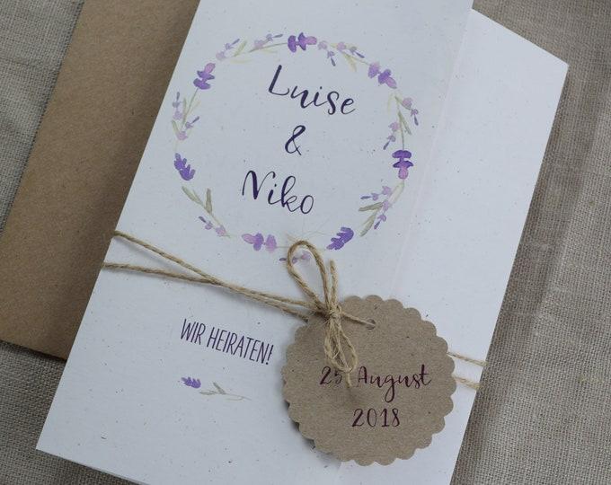 Wedding invitation lavender, vintage wedding, wedding card, wedding Provence, wedding card individually printed
