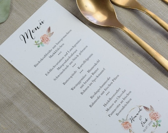 Menu card wedding motif -Rosy- wedding menu, wedding menu, vintage wedding