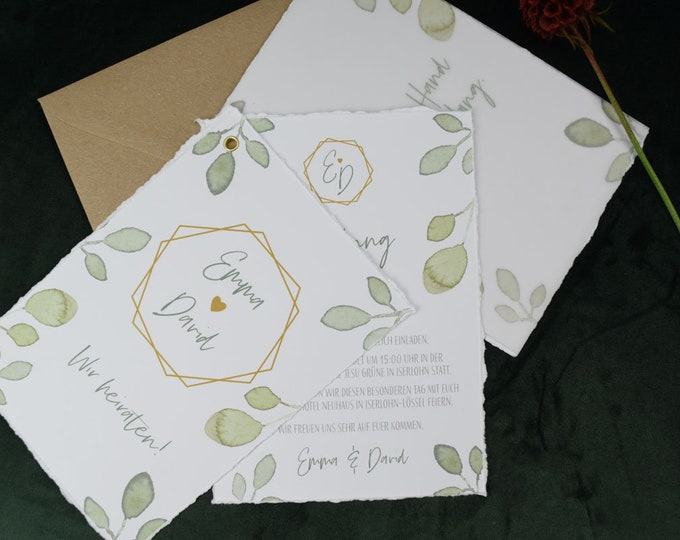 "Wedding Invitation ""Greenery Love"" Wedding Invitation, Boho Style, Ripped Edges, Fan Card with Transparent Paper"