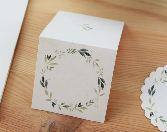 """Table Card """"Nature Love,"""" Name Shield, Wedding"""