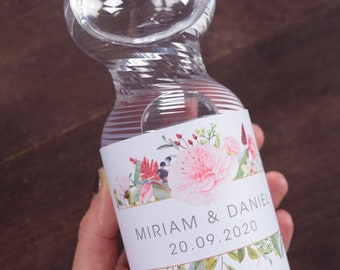 "Bottles label ""Flowerlove"" vintage wedding, wedding hostess gift, hang over kit, hangover breakfast"