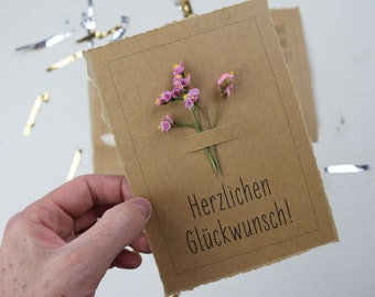 Congratulations, Birthday Congratulations Card, Hip Hip Hooray, Card with Dried Flowers